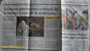 Cutting from El Comercio - Ayahuasca declared national heritage