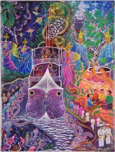 Barco Fantasma by Pablo Amaringo, featured in the book 'The Ayahuasca Visions of Pablo Amaringo'