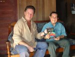 Pablo Amaringo wrote the foreword for the book 'Plant Spirit Shamanism' here seen with co-author Howard G Charing